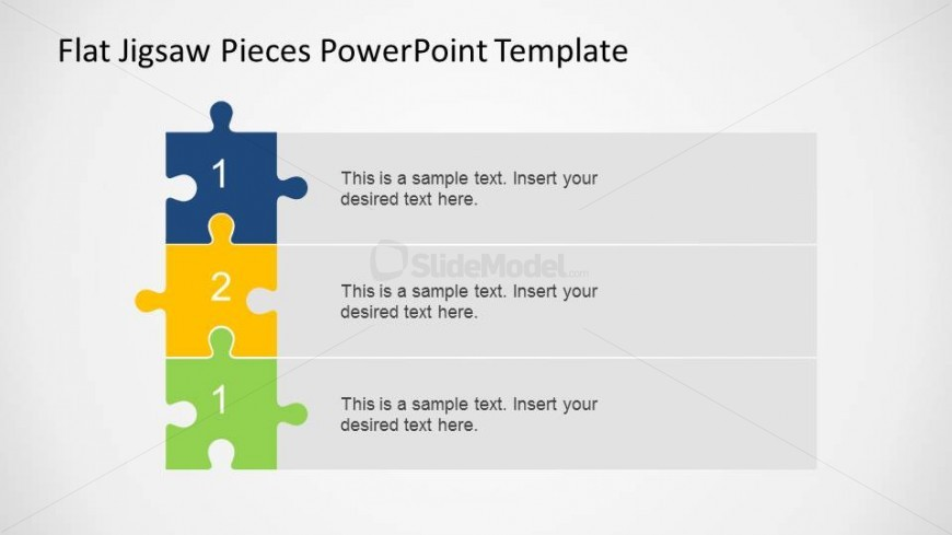 Three Steps Vertical Diagram Using Jigsaw Pieces Slidemodel