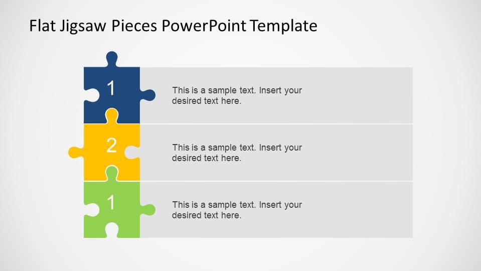 Editable flat jigsaw pieces powerpoint template slidemodel three steps vertical diagram using jigsaw pieces toneelgroepblik Gallery