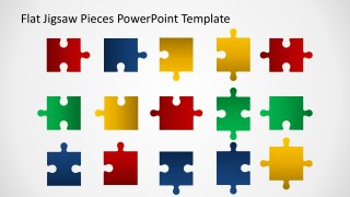 editable flat jigsaw pieces powerpoint template - slidemodel, Powerpoint templates