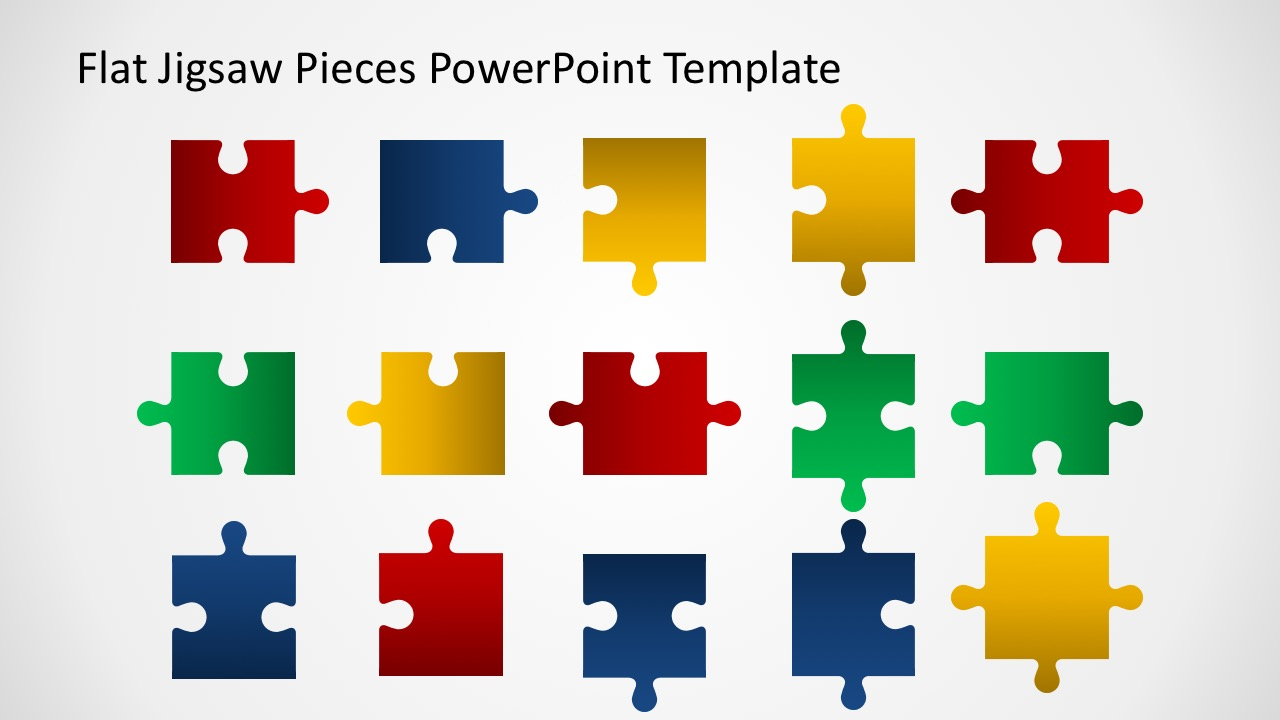 editable flat jigsaw pieces powerpoint template slidemodel. Black Bedroom Furniture Sets. Home Design Ideas