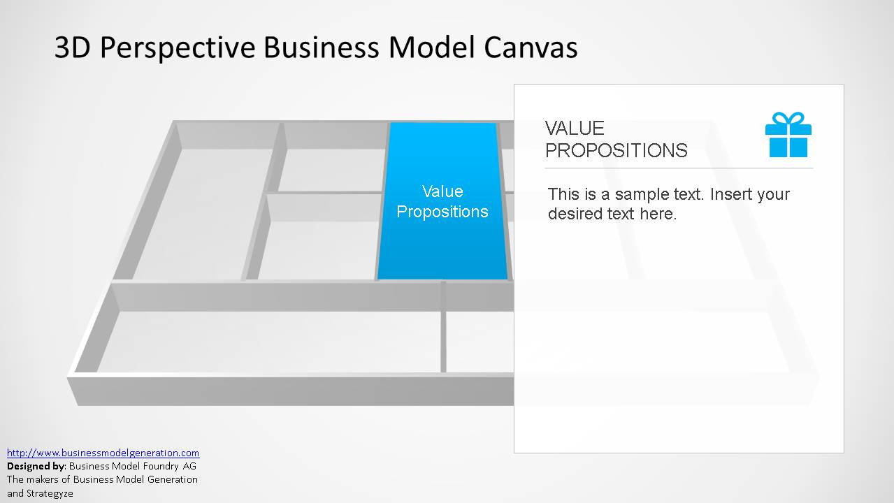 3D Business Model Canvas Value Proposition Perspective for PowerPoint