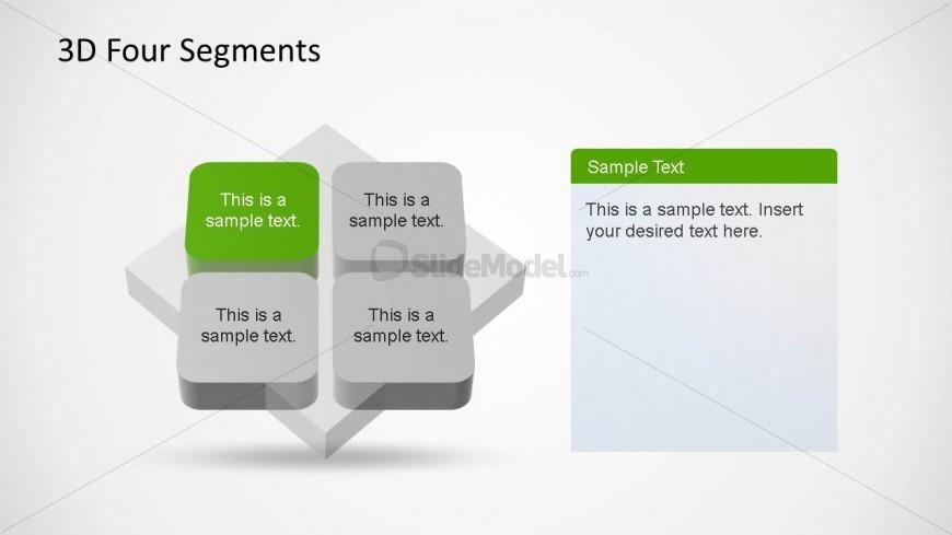 4 Segments 3D Diagrams PowerPoint Template Quadrant One