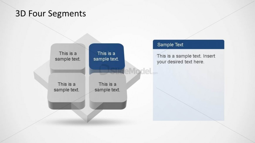 PowerPoint 3D Quadrants Diagram with First Quadrant Highlighted