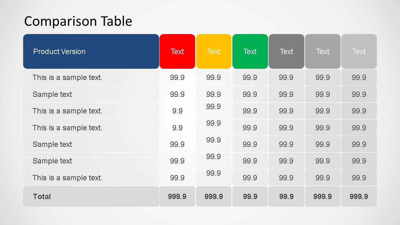 3d comparison table powerpoint template slidemodel for Table design ppt