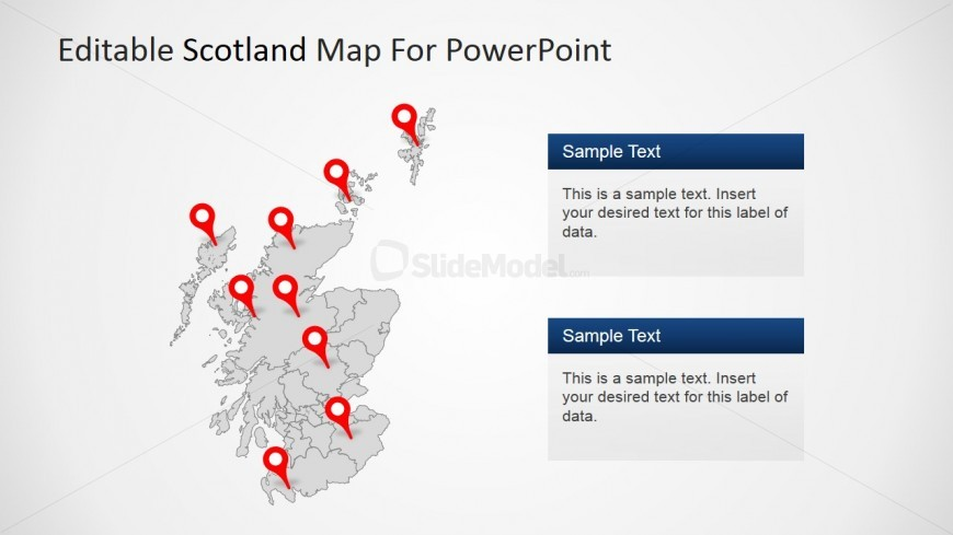PowerPoint GPS Marker Icons in Scotland Map