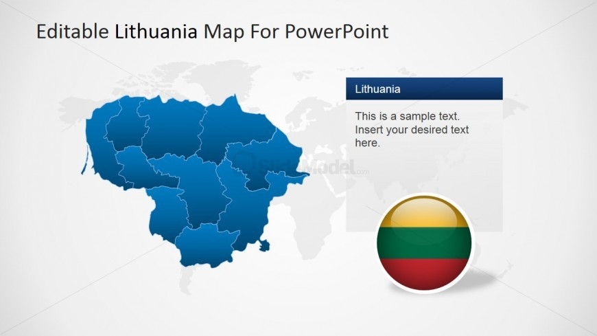 Map and Flag Clipart from Lithuania for PowerPoint