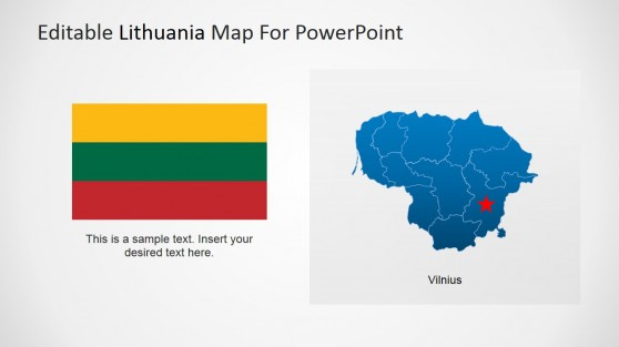 Lithuania National Flag Clipart and Map for PowerPoint