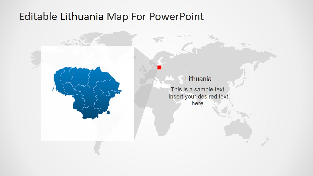 Image of: Highlight Of Lithuania Map In Europe For Powerpoint Slidemodel