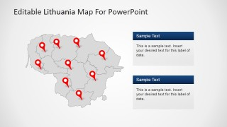 PowerPoint Map of Lithuania with GPS Locator Icons