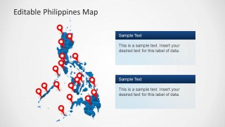PowerPoint Map of Philippines with GPS Markers