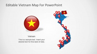 Editable PowerPoint Map of Vietnam with Flag and Icon