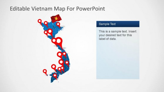 Editable Vietnam PowerPoint Map with GPS Markers