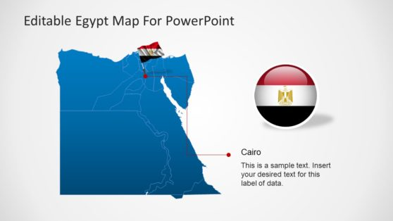 Editable Egypt Map PowerPoint Template with Flag