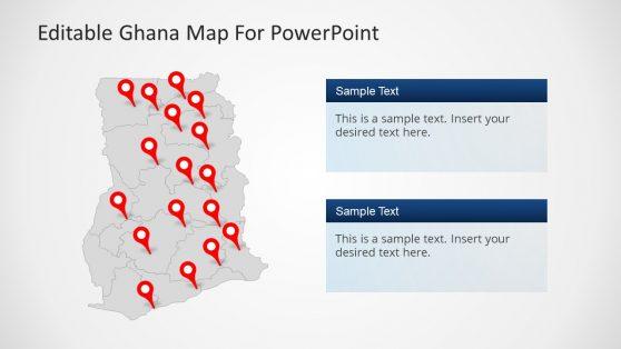 Ghana Map Editable PowerPoint Template with Flag