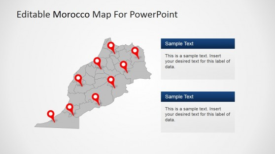 Morocco Map with Editable States and GPS Markers