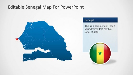 Senegal Editable Map PowerPoint Template Dakar