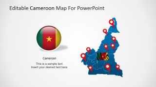 Republic of Cameroon Circular Flag Icon and Map