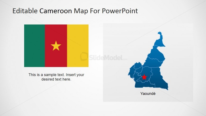 Editable Map of Republic of Cameroon and Flag Icon