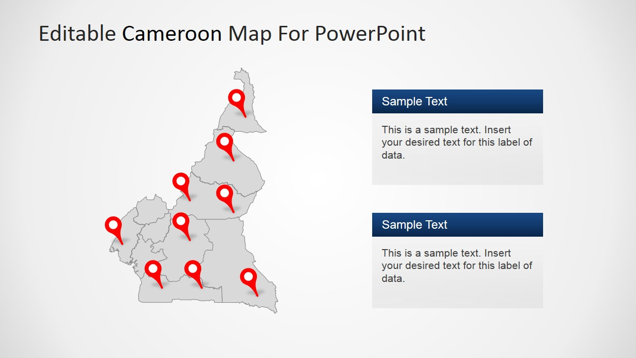 Editable cameroon powerpoint map slidemodel powerpoint cameroon map outline with location markers ccuart Choice Image