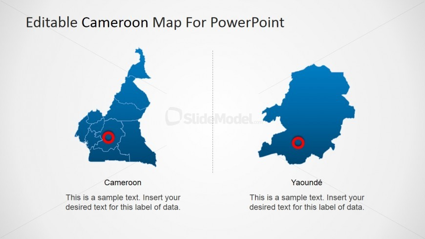 Yaound City Marked in Cameroon Map SlideModel