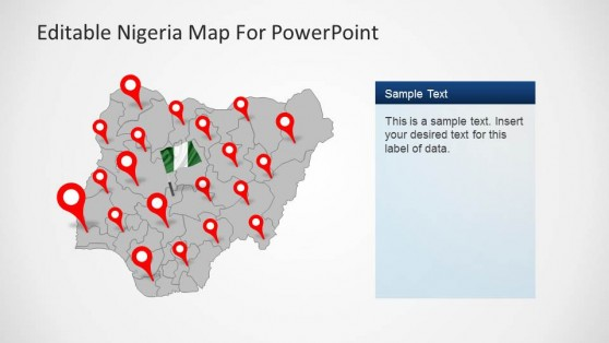 Editable Nigeria PowerPoint Map grey background and GPS Markers