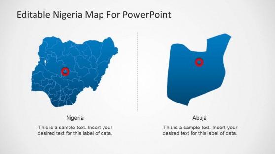 Editable Nigeria PowerPoint Map Abuja Highlight