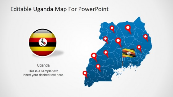 Republic of Uganda Political Outline Map and Flag Icon