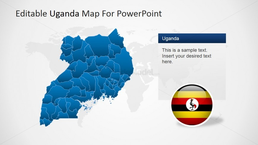 PowerPoint Editable Map of Uganda with Flag Icon