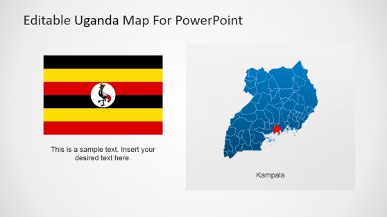 Republic of Uganda PowerPoint Map with Capital City and Flag