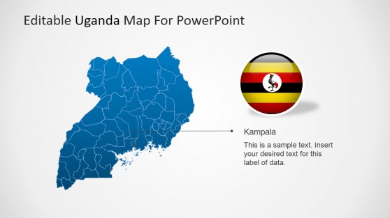 Political Uganda Map with Kampala City Marker