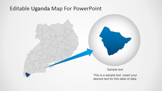 Uganda PowerPoint Map with State Magnified