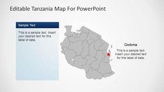 Editable Tanzania PowerPoint Map with Gray Background
