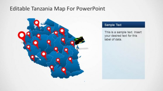 Editable Tanzania PowerPoint Map GPS Markers