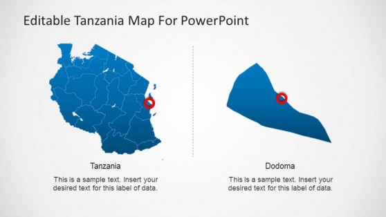 Editable Tanzania PowerPoint Map with Dodoma Capital
