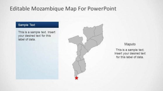 Editable Mozambique Map PowerPoint Template Outline