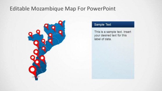 Editable Mozambique Map PowerPoint Template GPS Markers