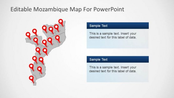 Political Outline PowerPoint Map of Mozambique
