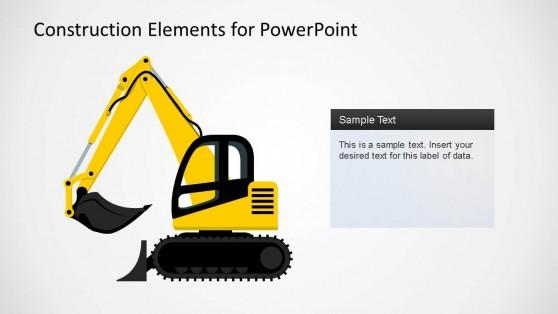 Construction Elements PowerPoint Shape Backhoe