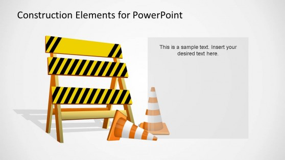 Construction Elements PowerPoint Shape Fence and Cones