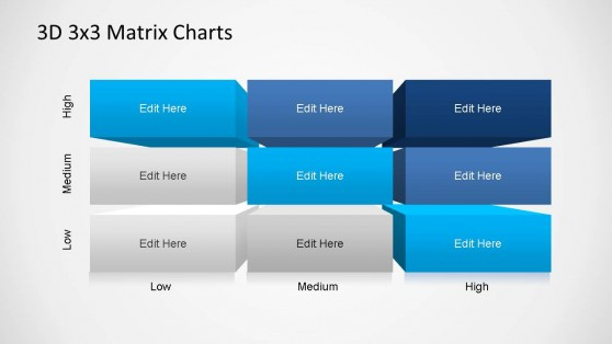 3D Matrix Charts PowerPoint Diagonal