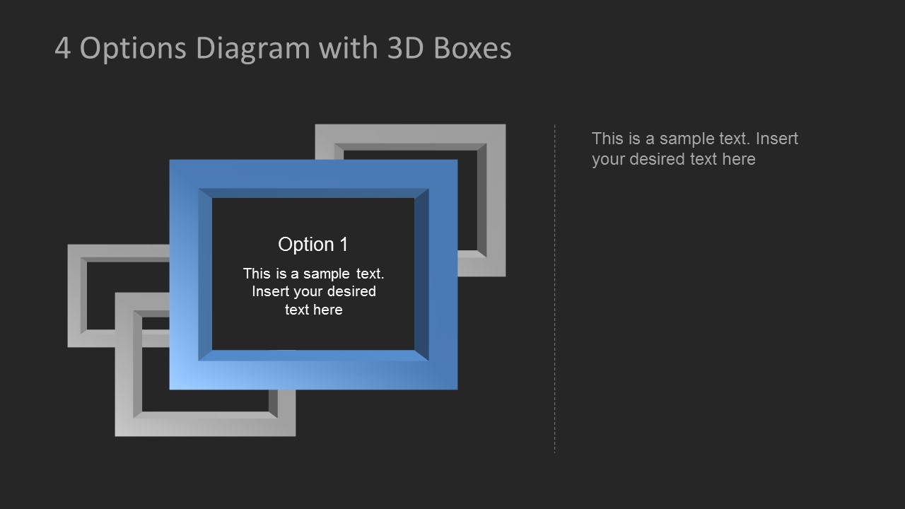 4 options diagram template for powerpoint with 3d boxes eye shape diagrams