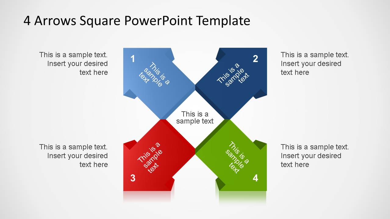 4 3D Arrows Square PowerPoint Template
