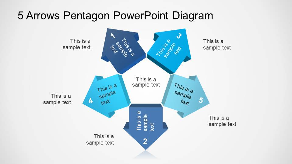 PowerPoint Diagram Five 3D Arrows with Pentagonal Center