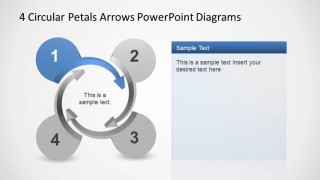 4 Circular Petals Arrows PowerPoint Templates