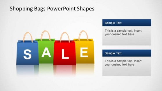 Shopping Bags SALE PowerPoint Shapes with Text