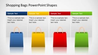 Shopping Bags SALE PowerPoint Four Descriptions