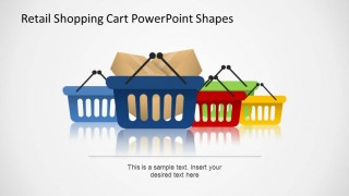 Retail Shopping Cart PowerPoint Shapes Hand Cart and packages