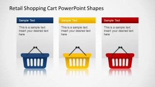 Retail 3 Hand Shopping Cart PowerPoint Shapes