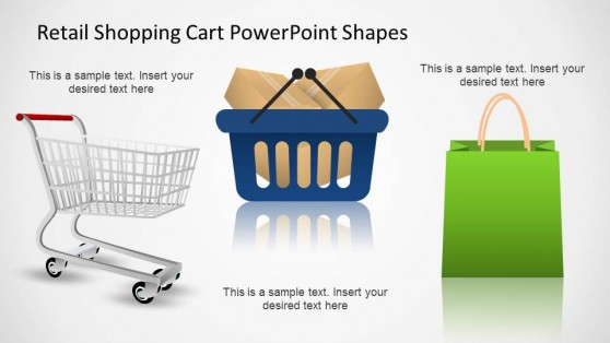 Retail Shopping Cart PowerPoint Shapes with Shopping bag