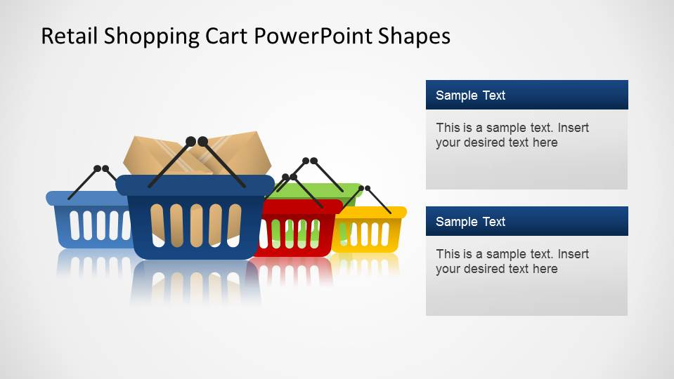 PowerPoint Shapes of Retail Hand Shopping Carts